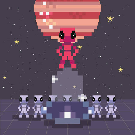 invader ufo space pixel video game retro vector illustration