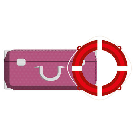 suitcase travel with float lifeguard vector illustration design Фото со стока - 129417792