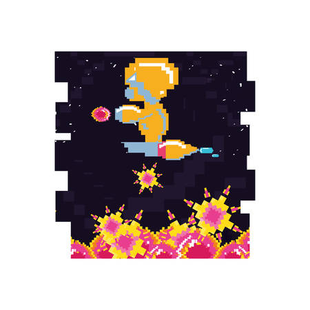 video game avatar pixelated vector illustration design