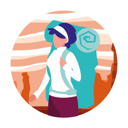 young woman in desert landscape dry scene vector illustration design 向量圖像