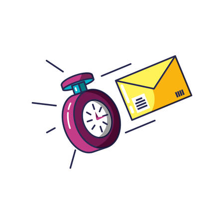 chronometer time with envelope mail vector illustration design