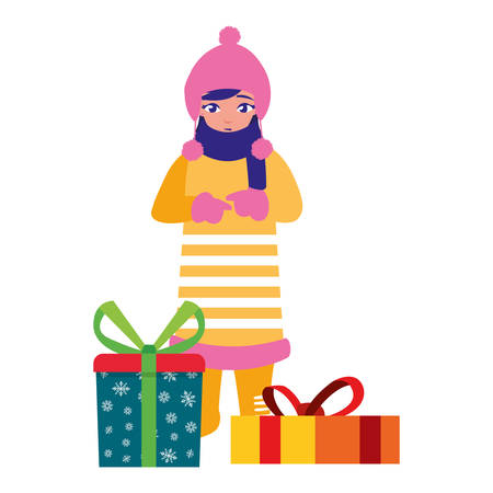 girl with winter clothes and christmas gifts vector illustration