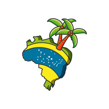 map of brazil with palm tree vector illustration design  イラスト・ベクター素材