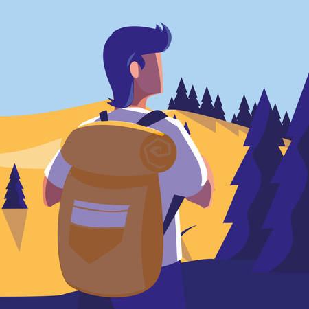 young man in forest landscape scene vector illustration design Çizim