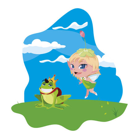 beautiful magic fairy with toad prince in the garden vector illustration design Ilustrace