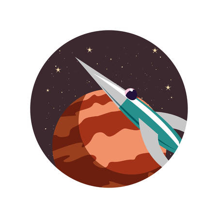 rocket spaceship cosmos planets vector illustration design Иллюстрация