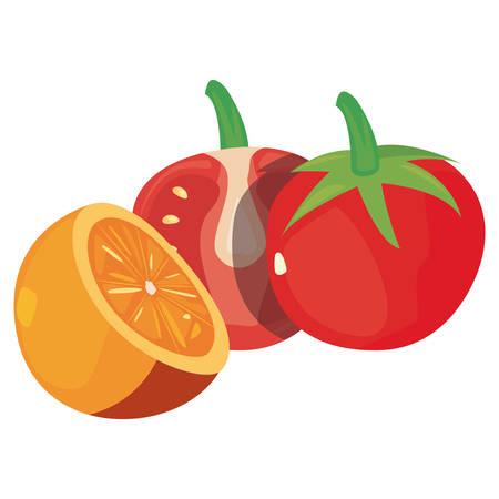 tomatoes orange fresh food vector illustration design