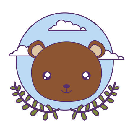 head of cute little bear baby with crown leafs vector illustration design