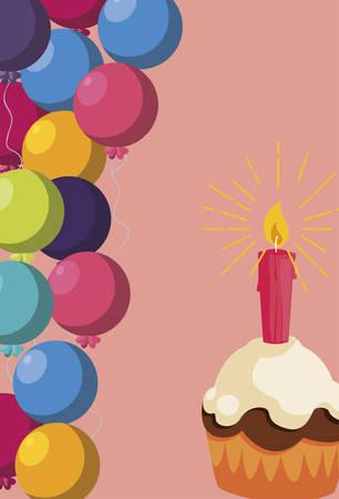 sweet cupcake birthday with balloons helium frame vector illustration design