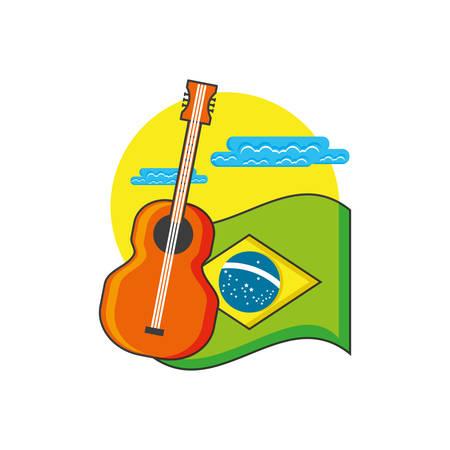 flag of brazil with guitar instrument vector illustration design