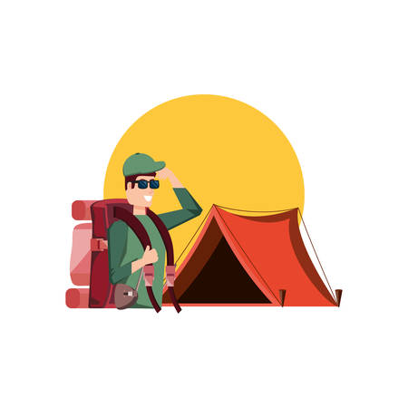 traveler man with travel bag and tent camping vector illustration design Stock Illustratie