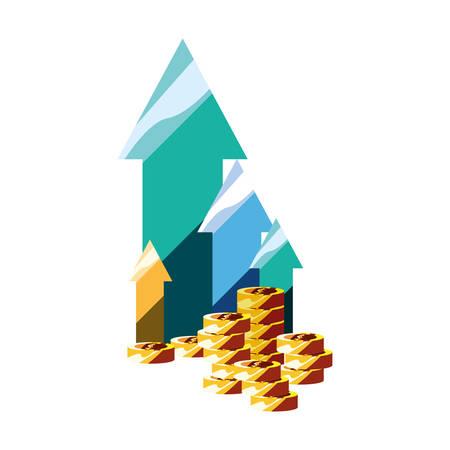 coin stack money finance up arrows vector illustration Foto de archivo - 129419800