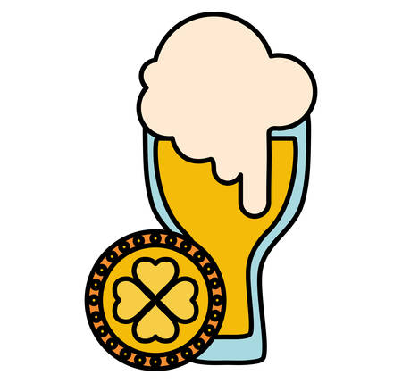 beer glass with clover coin vector illustration design
