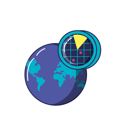 radar location with planet earth vector illustration design