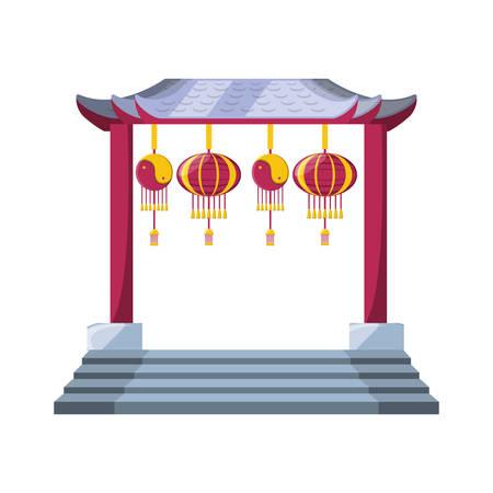 chinese portal with lantern hanging vector illustration design