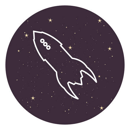 rocket space stars astronomy travel vector illustration