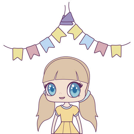cute little doll with garlands hanging vector illustration design