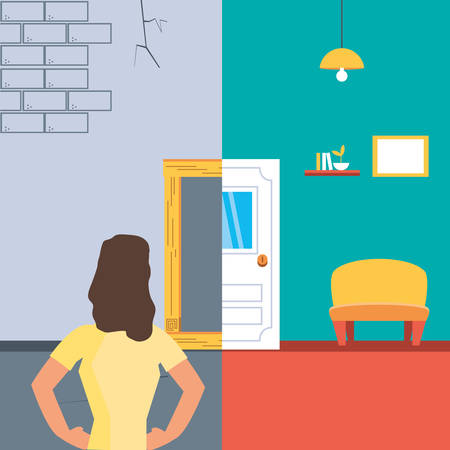 woman with before and after home under construction vector illustration design