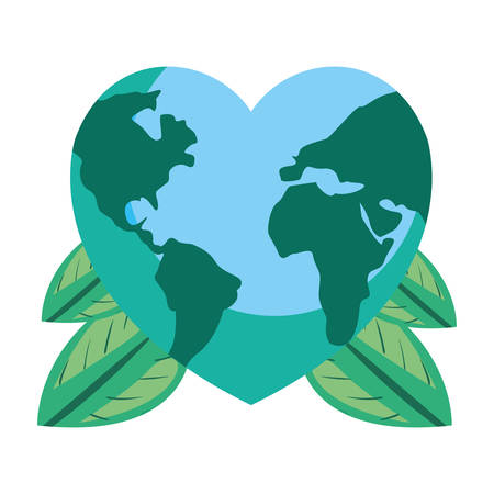 world shaped a heart branches happy earth day vector illustration