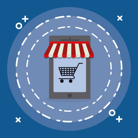 smartphone device with shopping cart vector illustration design Stock Illustratie