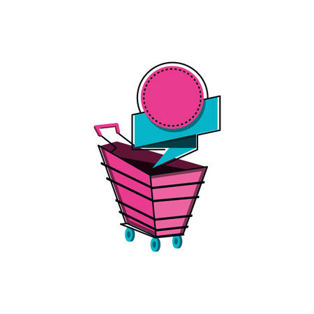 shopping cart with ribbon isolated icon vector illustration design
