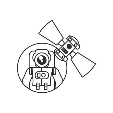 astronaut suit with satellite in frame circular vector illustration design