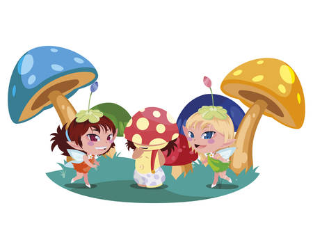 beautiful magic fairies with fungu elf in the garden vector illustration design Stockfoto - 129411230