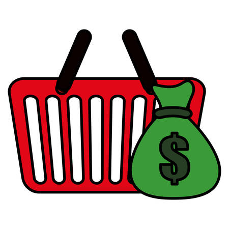 shopping basket with money bag vector illustration design