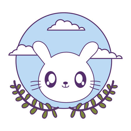 head of cute little rabbit baby with crown leafs vector illustration design Çizim