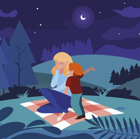 beautiful mother with son in the landscape picnic day vector illustration design