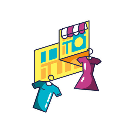 clothing hanging in clothespin with map guide location vector illustration design