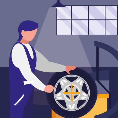 mechanic worker with tire changer machine vector illustration design