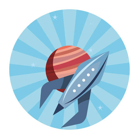 rocket planet space mission explore vector illustration  イラスト・ベクター素材