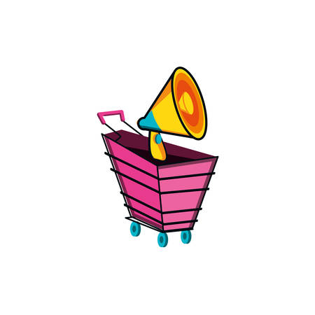 shopping cart with megaphone icon vector illustration design