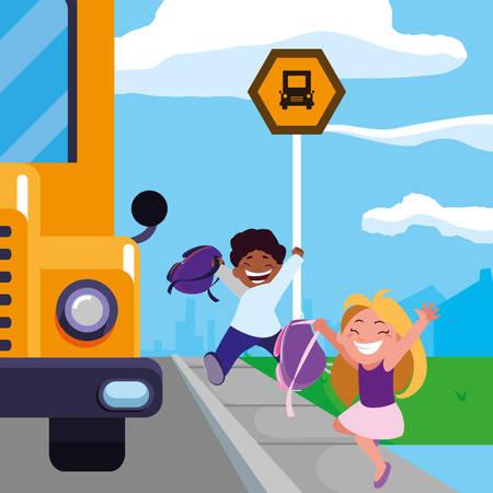 happy little interracial school kids in the bus stop vector illustration design Çizim