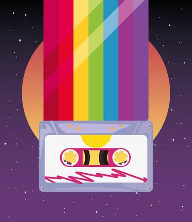 cassettes musique arc-en-ciel rétro style années 80 illustration vectorielle