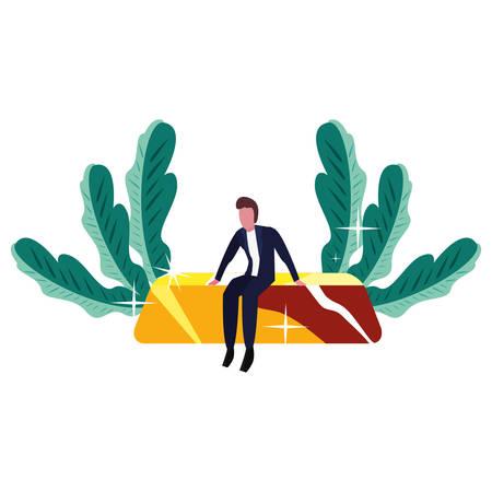 businessman sitting on gold bar fortune vector illustration