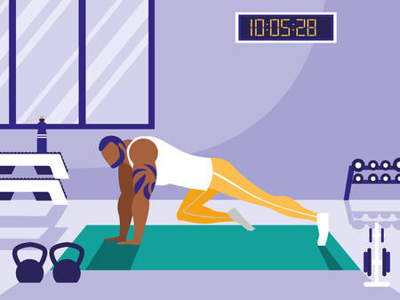 young athletic afro man doing chest push ups in gym vector illustration design Stock Vector - 129434799