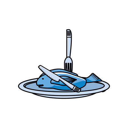 fresh fish food in dish with cutlery vector illustration design