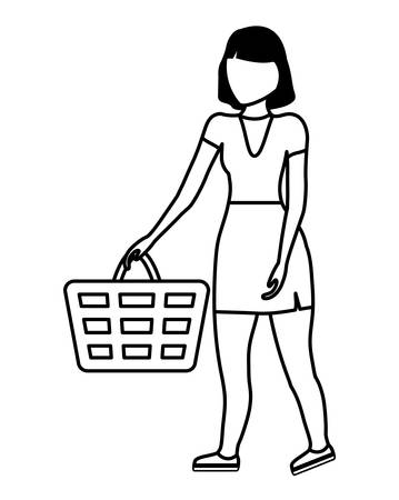 woman with shopping basket isolated icon vector illustration design Çizim