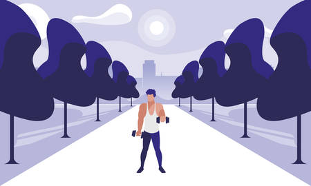 athletic man weight lifting in the park vector illustration design 写真素材 - 129455485