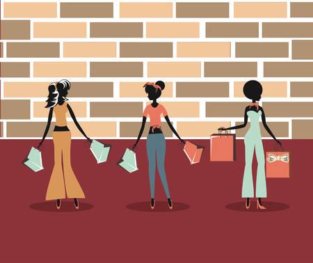 women holding shopping bags retro store vector illustration