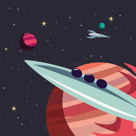 rockets planets space exploration vector illustration design