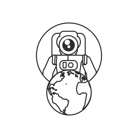 astronaut suit in frame circular with planet earth vector illustration design