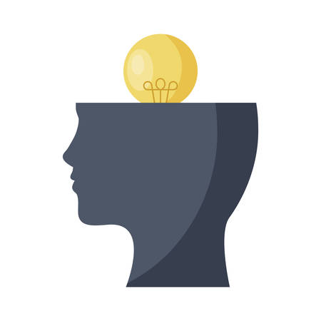 profile silhouette with light bulb idea vector illustration design  イラスト・ベクター素材