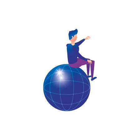 businessman worker seated in sphere browser vector illustration design  イラスト・ベクター素材