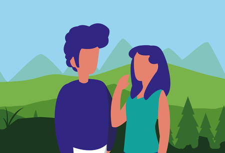 young couple in forest landscape scene vector illustration design 写真素材 - 129459971