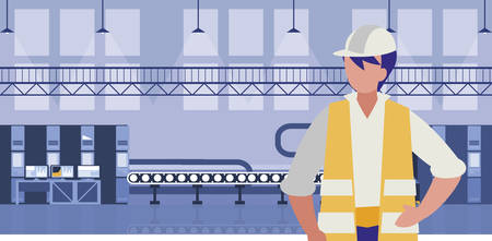 worker in factory workplace vector illustration design Illusztráció