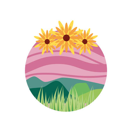 landscape nature in frame circular with flowers vector illustration design