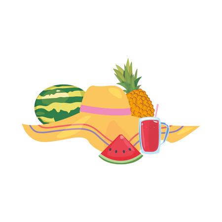 summer time holiday hat watermelon juice pineapple vector illustration Иллюстрация